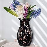 LUSUNT 28cm Vase Schwarz Blumenvase Deko Glas Vase für Pampasgras, Zuhause Wohnzimmer Büro Tisch Vase Deko Größe 14 x 12 x 28 cm
