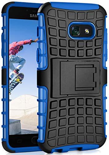 MoEx Samsung Galaxy A3 (2017) Hülle Silikon Hard-Case Blau [OneFlow Outdoor Back-Cover] Extrem Stoßfest Schutzhülle Grip Handyhülle für Samsung Galaxy A3 2017 Case Rückseite Tasche