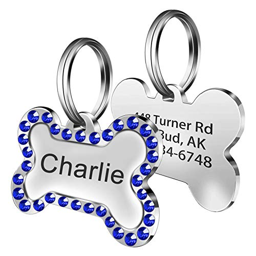 Fibernail Personalized Bone Dog Name Tag,Custom Engraved Pet ID Tags with Crystals Inlaid,Double Sided Pet Tags,Sparkling Bone Shaped Dog ID Tags(Blue)