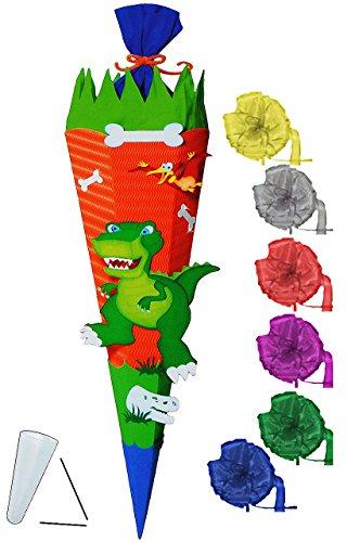 alles-meine.de GmbH BASTELSET Schultüte -  Dinosaurier - Dino  - 85 cm - incl. Schleife - mit / ohne Kunststoff Spitze - Zuckertüte - Set zum selber Basteln - 6 eckig / orange ..