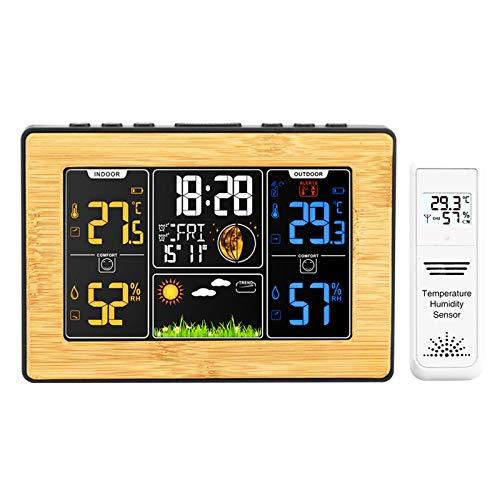 Reloj Despertador Inteligente Pantalla A Color MultifuncióN Reloj De PronóStico del Tiempo Reloj MeteorolóGico Fideos De Bambú Despertador ElectróNico Medidor De Temperatura Y Humedad