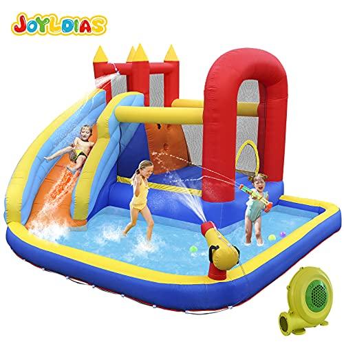 JOYLDIAS Inflatable Water Slide Inflatable Bounce House, Jumper Slide Playhouse with Water Gun & Splash Pool, Bouncer, Basketball Hoop, 450W Air Blower, Carry Bag, Indoor/Outdoor Use