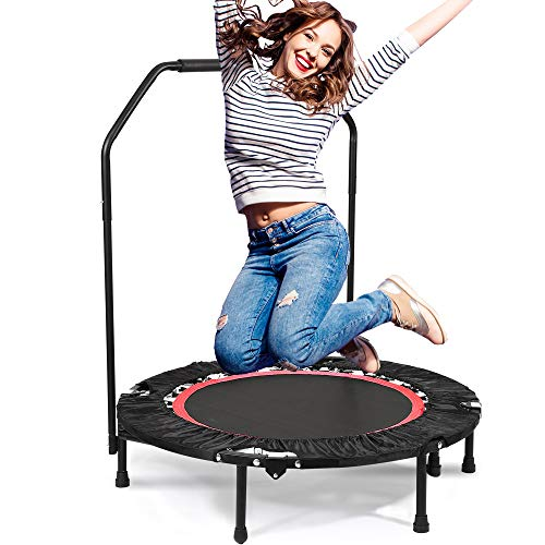 Hurbo 40 Rebounder Trampolines Foldable Exercise Trampoline with Handrail for Adults or Kids [US Stock]