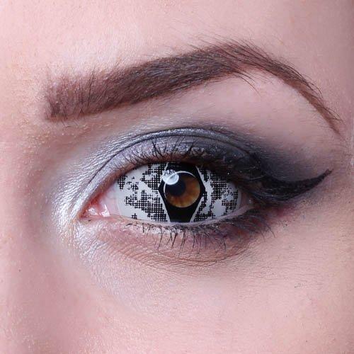 MATLENS – Eye love Winter Viper Sclera Kontaktlinsen Crazy Fun Motiv Halloween grau gray 2 Linsen 1 Kontaktlinsenbehälter 1 Pflegemittel 50ml