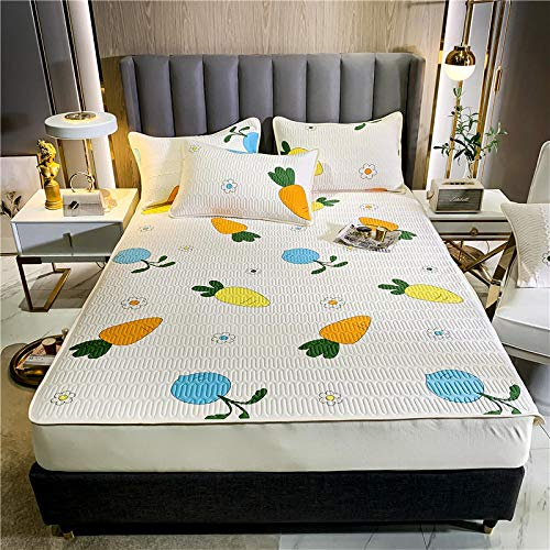 GTWOZNB Snugly Around Your Mattress Hypoallergenic, Breathable Bed Sheets Are Oh-So-Soft Mattress mat-fruit and vegetable-white_180*200cm