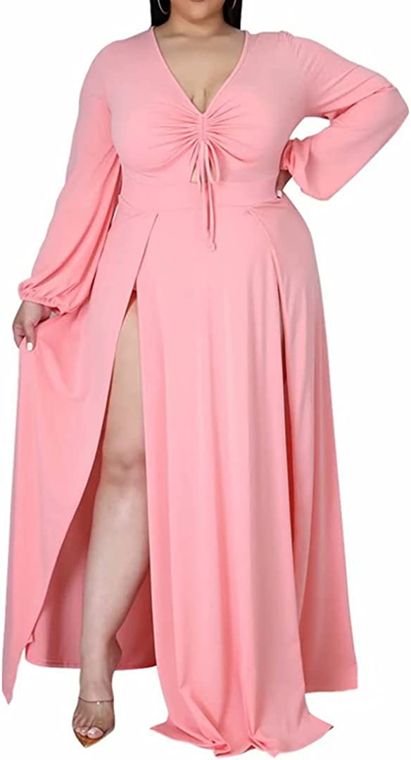 Women's Sexy Plus Size Long Sleeve V Neck Ruched Split Beach Party Maxi Dress
