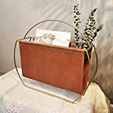 Tiita Gold Modern Magazine Storage Decor Desktop Leather Metal Holder for Bedroom,Living Room – Free Standing Floor, Desk Storage and Display Stand - Books, Newspapers, Files, Folders(Brown and Gold)