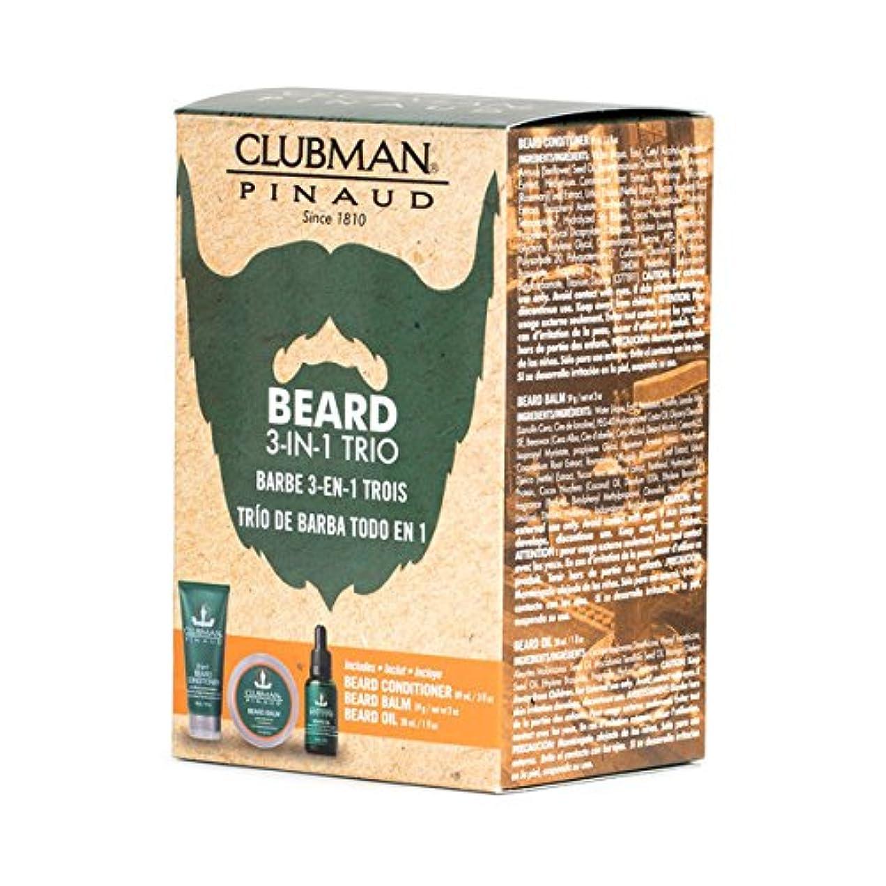 ソファー菊戻す(3 Pack) CLUBMAN Beard 3 in 1 Trio - Beard Balm, Oil and 2 in 1 Conditioner (並行輸入品)