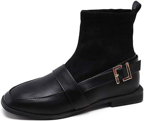 Yanyan Bottines pour Dame, Bottes Noires en Cuir Chaussures élégantes Bottes à Talons carrés Chaussures habillées de soirée et de soirée Chaussures Tout-Aller décontractées