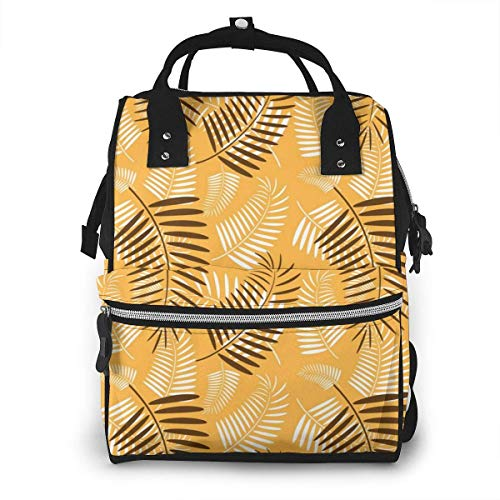 UUwant Sac à Dos à Couches pour Maman Large Capacity Diaper Backpack Travel Manager Baby Care Replacement Bag Nappy Bags Mummy BackpackPalm Tree Leaves Orange Pattern Vector Image