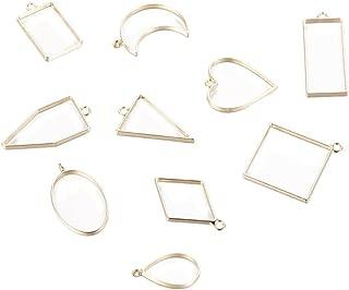 dailymall レジン枠 空枠 フレーム ハート 長方形 三角形 円形 菱形 手芸 クラフト 全3色 10個入り - ゴールデン