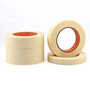 6Rolls (360 Yards Total) General Purpose Beige White Masking Tape 1 .41inch by 60Yard Decorative Home and Office Craft Tape for Basic Use Premium Painters Decoration Masking Paper