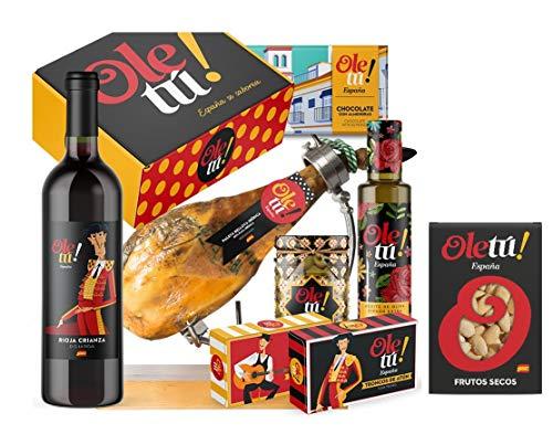Cesta Lote Jamón Iberico premium con deliciosos productos gourmet Ole Tú. Regalos productos gourmet 100% sabor España.