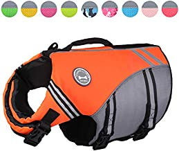 Vivaglory New Sports Style Ripstop Dog Life Jacket with Superior Buoyancy & Rescue Handle, Bright Orange, M