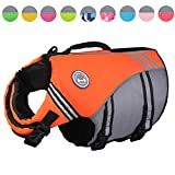 Vivaglory New Sports Style Ripstop Dog Life Jacket with Superior Buoyancy & Rescue Handle, Bright Orange, L