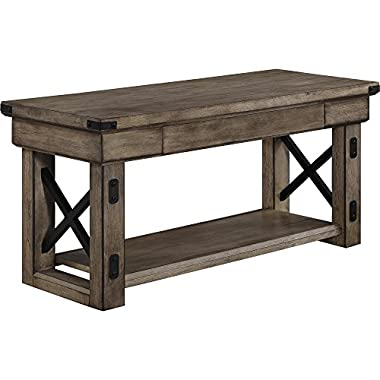 Ameriwood Home Wildwood Wood Veneer Entryway Bench, Rustic Gray