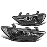 Pair of Black Housing Clear Corner Projector Headlight Assembly HeadLamps Replacement for Elantra 17-18