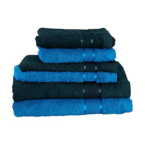 Mixibaby Juego de toallas de 6 piezas: 2 toallas de ducha, 2 toallas de invitados, 2 manoplas de baño, color verde oscuro, combinadas de color azul.