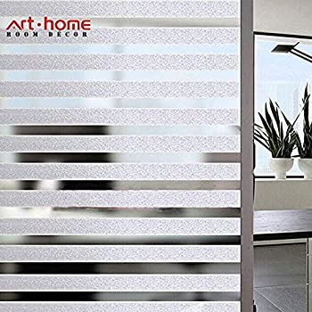 Viseeko Frosted Window Film Static Cling Glass Film Decorative Frosted Stripe Patterns Non-Adhesive for Home Office Kids Study Meeting Room 17.5 x 78.7Inches