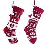 Valery Madelyn 2pcs Medias de Navidad, 18in/46cm Calcetines de Navidad de Rojo y Blanco, Adornos de Navidad de Tela de Punto con Tarjeta de Nombre y Bolas de Algodón, Decoración
