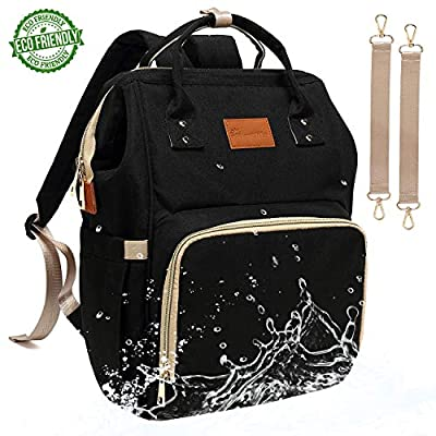 Baby Diaper Bag Backpack – Large Diaper Backpack for Mom Dad with Stroller Straps, Multi-Function, Waterproof, Stylish and Durable Travel Diaper Bags for Girls and Boys (Black)