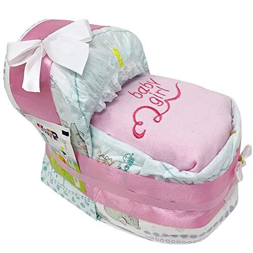 Kleines Windelbettchen baby girl für Mädchen in rosa hochwertig bestickt. Geschenk zur Geburt, Taufe oder Babyparty. Windeltorte