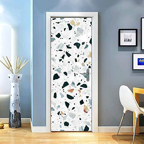KEXIU 3D Suelo de terrazo PVC fotografía adhesivo vinilo puerta pegatina cocina baño decoración mural 77x200cm