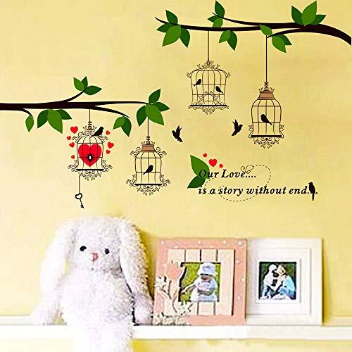 不二玩家木葉ウォールステッカー鳥植物グリーンおしゃれアート北欧インテリアポスターステッカーウォール装飾M0224