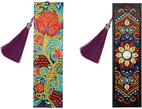 5D Diamond Painting Bookmarks Beautiful Leather Tassel Bookmark DIY Flower Printing Beaded Bookmarks Gift for Mother's Day Valentine's Day Rhinestone Embroidery Arts Crafts