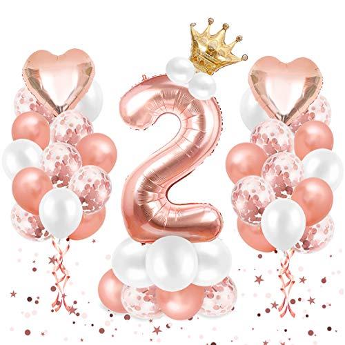 O-Kinee Luftballon 2. Geburtstag Roségold, Geburtstagsdeko 2 Jahr, Ballon 2. Geburtstag, Riesen Folienballon Zahl 2, Happy Birthday Folienballon 2, Ballon 2 Deko zum Geburtstag Mädchen