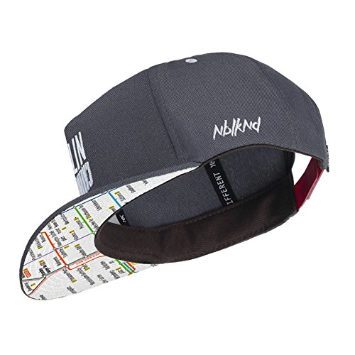 Nebelkind Snapback Cap Berlin Netzplan Patch Kappe Grau Größenverstellbar Unisex One Size