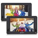 Pumpkin 2 Reproductores DVD Portátil para Coche, 10.1 ' Doble Pantalla Soporta Tarjeta SD, USB, CD, MP3, JPEG, 5 Horas Duración de Batería, con Mando a Distancia, Negro