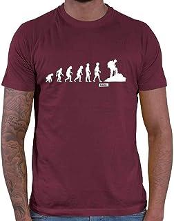 HARIZ Camiseta de senderismo para hombre, evolución de montañismo, montañismo, montañismo, montaña y tarjetas de regalo