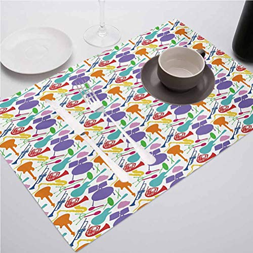 FloraGrantnan Placemats Washable Kitchen Table Place Mat Stain-Resistant, Music Colorful Instruments Bass Guitar Rock Micro, Suitable for Home Kitchen Decoration, Set of 6