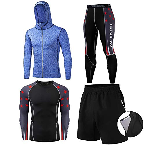 GHQYP Ropa Running Gym Hombres,Traje de Entrenamiento Elástico para Boxeo, Juego de 4 Piezas,Style1,Men-XL