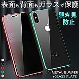 覗き見防止 360度全面保護 iPhoneXR ケース 表裏両面強化ガラス 衝撃吸収 極薄 透明 iPhone XR ケース アルミ バンパー おしゃれ メタル アイフォンXR カバー 強化ガラス ストラップ機能 アイフォンXR スマホケース マグネット (iPhone XR, ブラック)