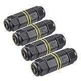 Conector de cable, uso exterior, caja de conectores impermeables, IP68, acoplador de manguito exterior, 5 mm a 12 mm de diámetro (negro, PA66), negro, 4 piezas