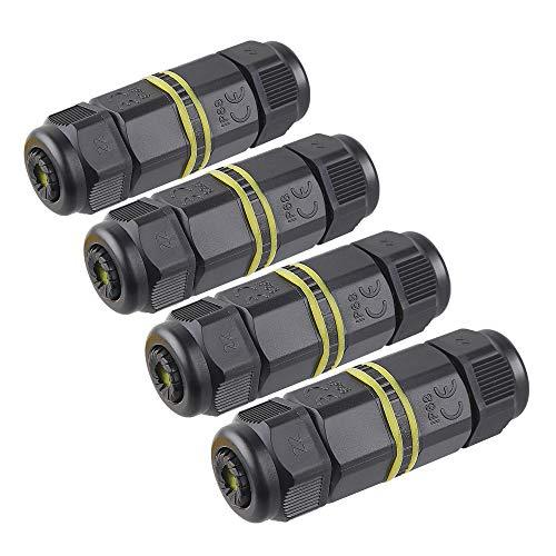 Chestele - Conector de cable, uso exterior, caja de conectores impermeables, IP68, acoplador de manguito exterior, 5 mm a 12 mm de diámetro (negro, PA66), negro
