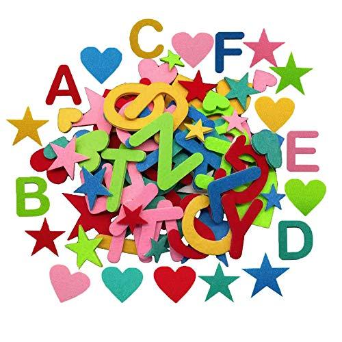 jenich 140 Stück Selbstklebend Filz Buchstaben Aufkleber Sticker Selbstklebend Stern Herzen Alphabet Bunt Filz Aufkleber Sticker Buchstaben zum kleben für Schultüte DIY Handwerk