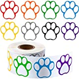 Boao A Roll of 600 Pieces Colorful Paw Print Stickers Dog Paw Name Tags Labels Stickers Bear Paw Print, 1.5 Inch (Mixed Color-1)