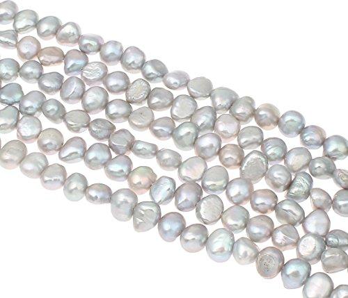 Perlin - Süßwasserperlen Zuchtperlen 6mm Silber-Grau Reiskorn Natur Barock Edelstein Perlen Schmuckperlen Schmuckstein Perle Zum Fädeln für DIY Kette Basteln Pearl Beads Gemstone D492