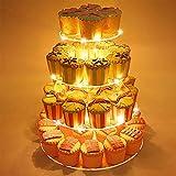 FADDARE Supporto per Cupcake, 4 Animali, in Acrilico, con luci LED, per Matrimoni, Feste di Compleanno, Not Null, Trasparente, Taglia Unica
