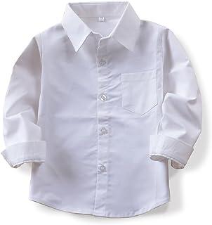 OCHENTA Boys' Long/Short Sleeve Button Down Oxford Shirt, Little Big Kids Dress Tops