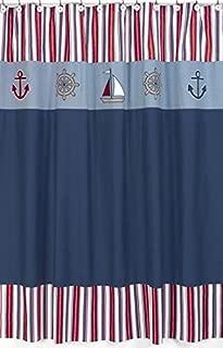 Sweet Jojo Designs Nautical Nights Sailboat Kids Bathroom Fabric Bath Shower Curtain