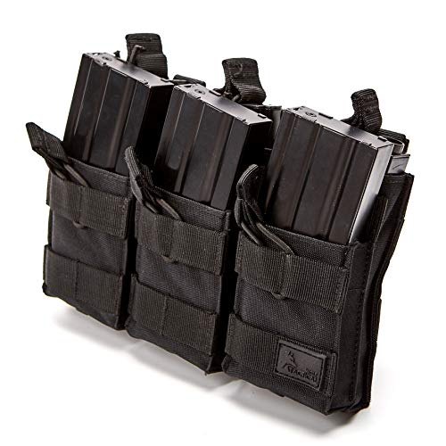 WOLF TACTICAL Triple Stacker Rifle Mag Pouch – Open Top MOLLE Mag Carrier for Rifle Magazines – Attaches to Combat Vests, Rifle Cases, Backpacks – Holds 6 Mags