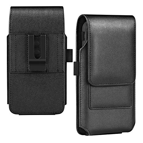 BECPLT for Galaxy S21+ 5G Holster Case,for Galaxy S21 Ultra 5G Belt Clip Case, Leather Belt Holster Pouch Case with Card Holder for Samsung Galaxy S21 Plus 5G Galaxy S20 FE 5G A32 5G M02s- Black