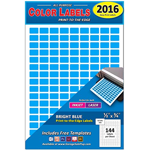 Pack of 2016, 1/2 x 3/4 Rectangle Color Coding Dot Labels, Bright Blue, 8 1/2 x 11 Inch Sheet, Fits All Laser/Inkjet Printers, 144 Labels per Sheet, 0.5 x 0.75 Inches