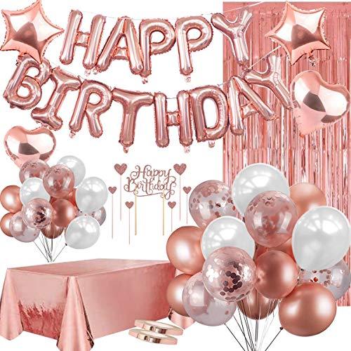 Sancuanyi Geburtstagsdeko Rosegold, Happy Birthday Ballons Folie und Latex Luftballons Brief Luftballons,Roségold alles Gute zum Geburtstag Kuchen Karte einstellen,Konfetti Luftballons,Tischdecken