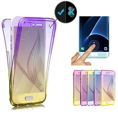 Miagon für iPhone 12 Pro Max Handyhülle 360 Grad Gradient Lila Gelb Transparent Silikon Etui Full Cover Vorne Hinten Rundum Doppel-Schutz Hülle Case Cover