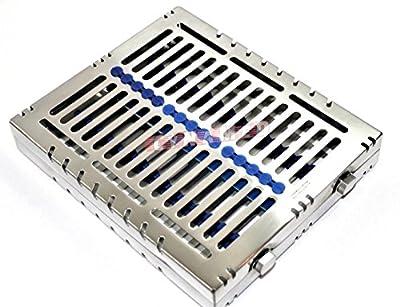1 German Dental Autoclave Sterilization Cassette Rack Box Tray for 15 Instrument Blue CYNAMED